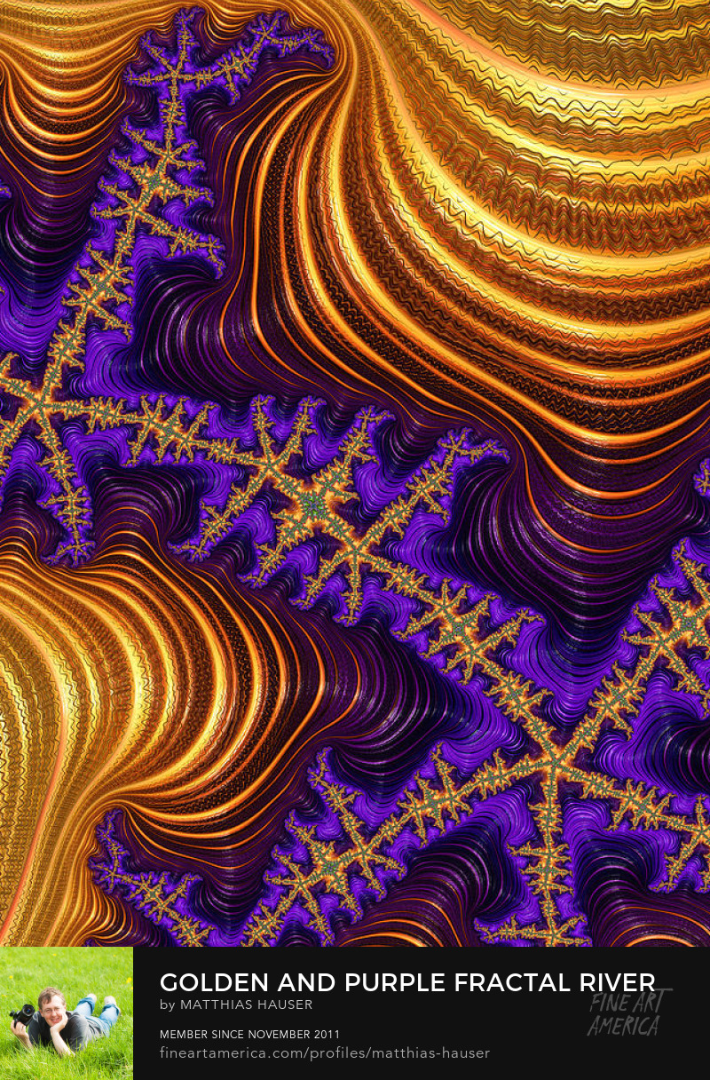 Golden and purple digital fractal art by Matthias Hauser
