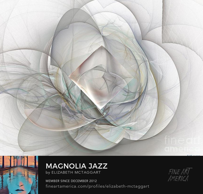 magnolia jazz fantasy flower digital art by Elizabeth McTaggart