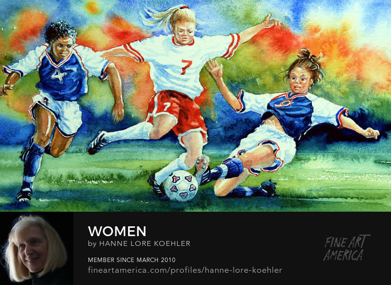 American Women Soccer Sports Action Art Prints