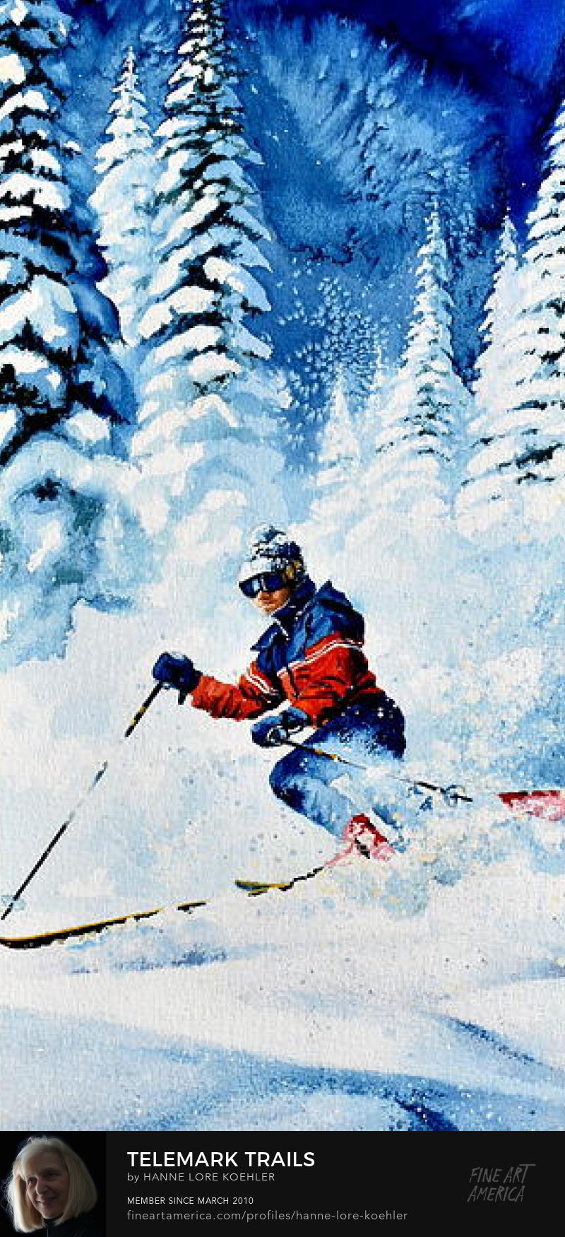 Telemark Skiing Art Prints
