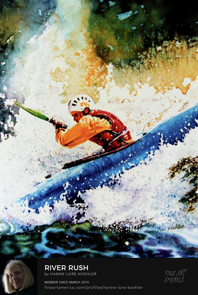 Whie Water Kayak Painting
