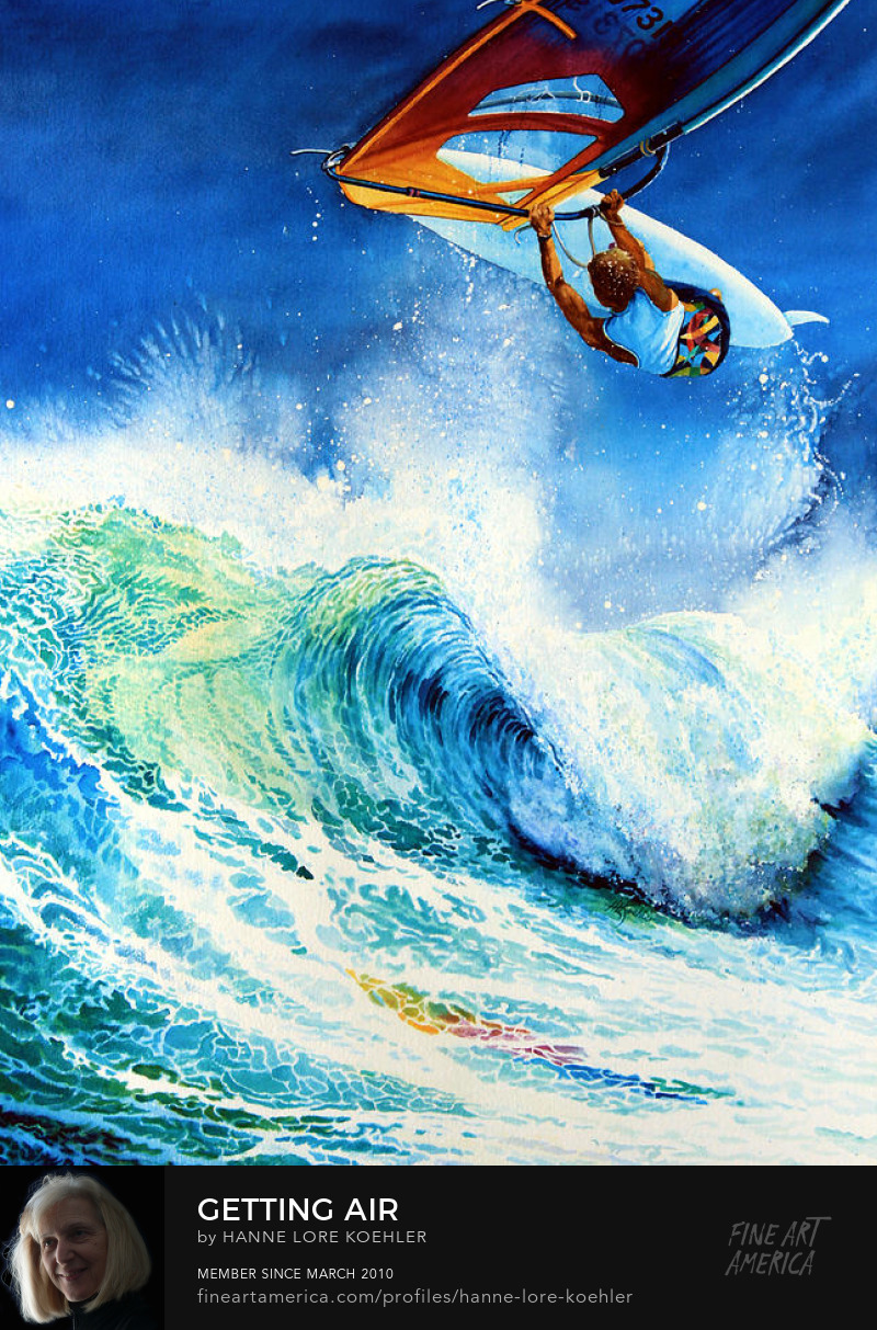 surfboarding, sailboarding, wind surfing Painting