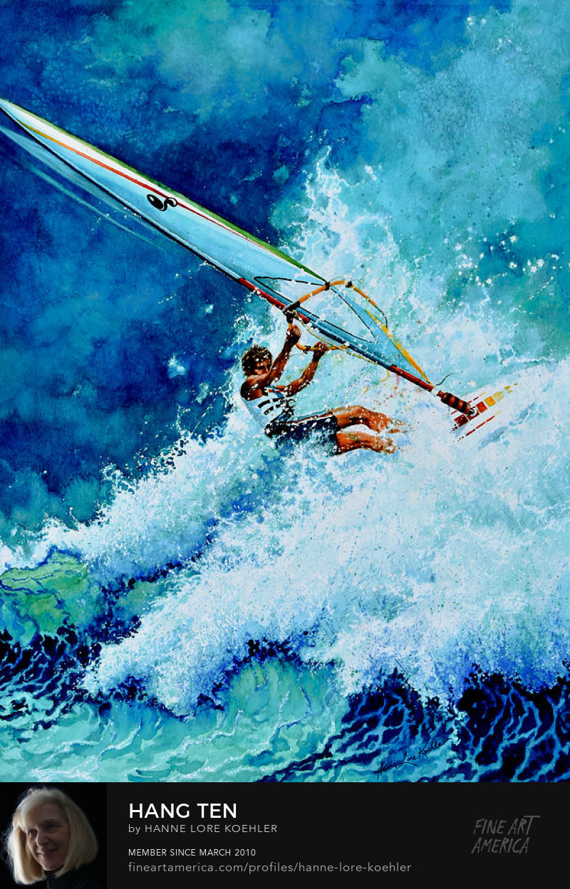 wind surfing, sailboarding, boardsailing Art Prints