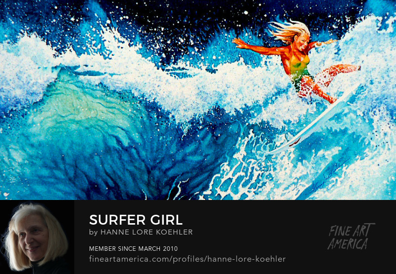 Surfer Girl Painting Art Prints