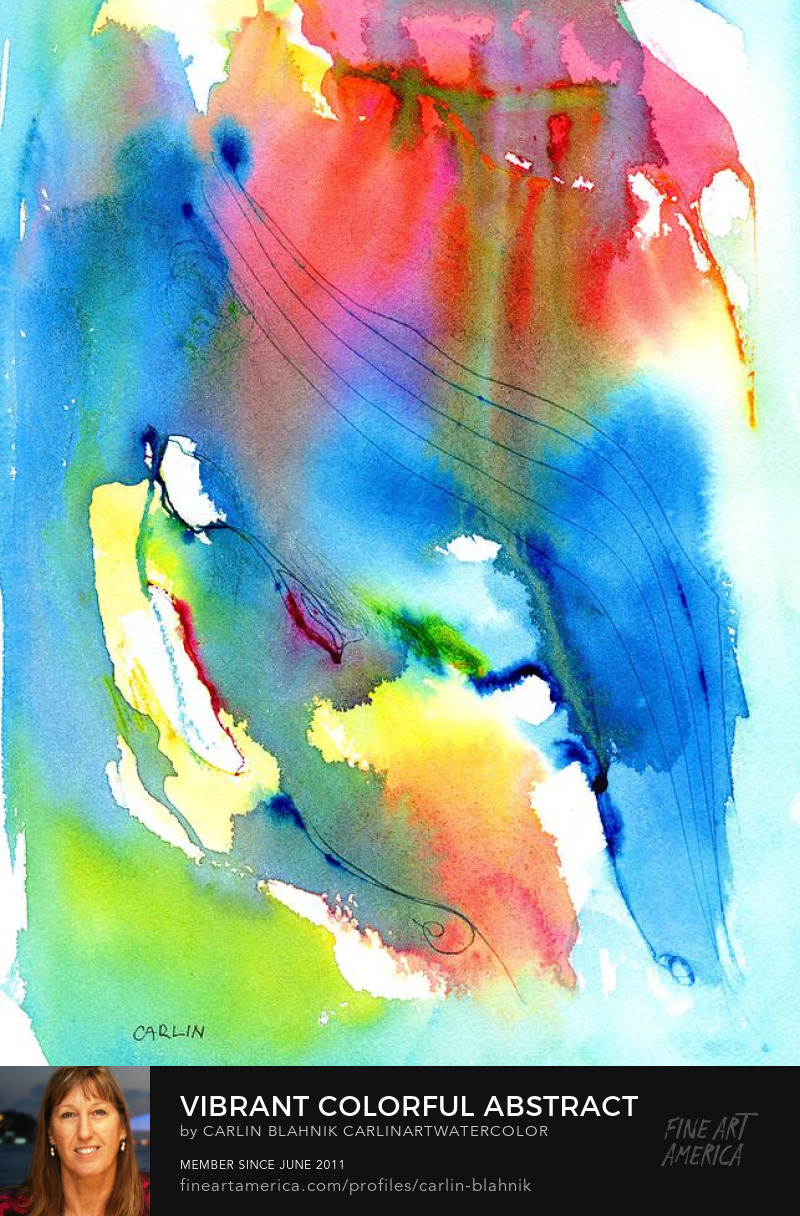 Colorful Abstract Watercolor Painting Print by Carlin Blahnik