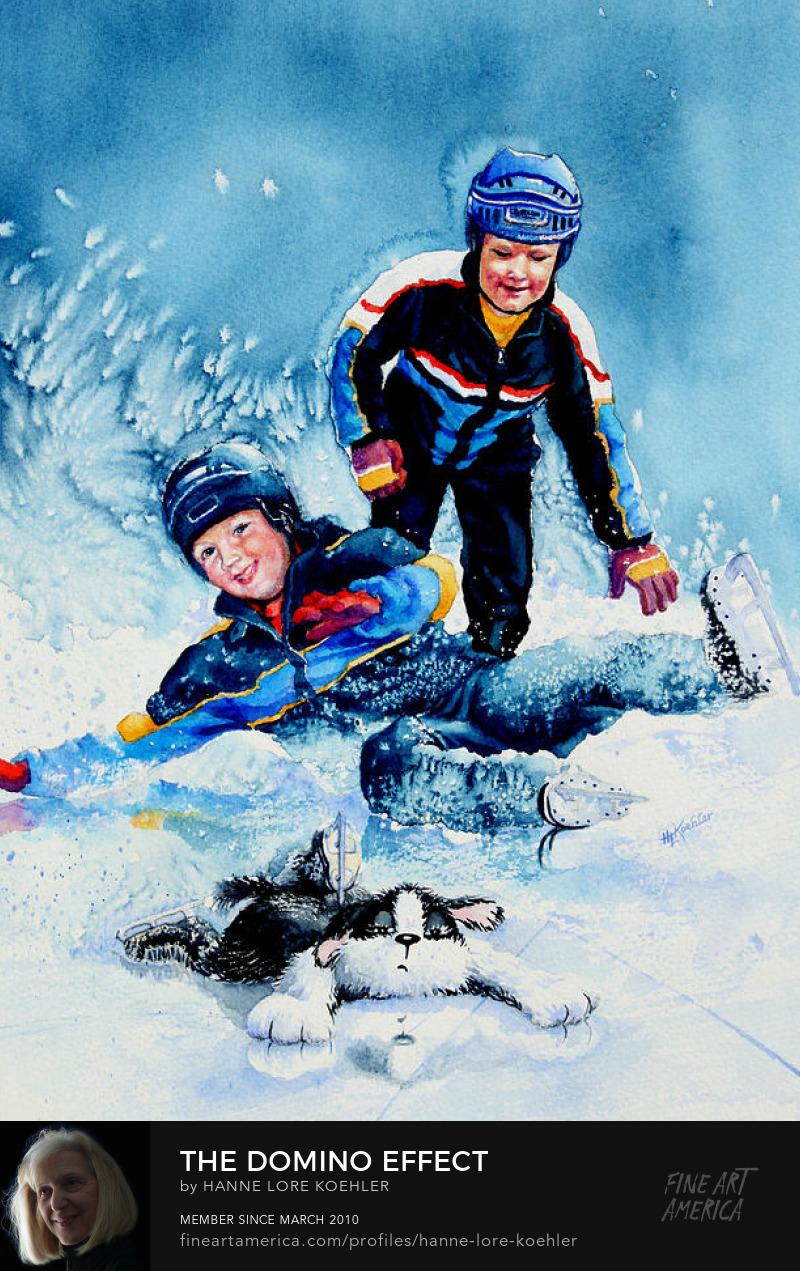 Children Ice Skating Painting