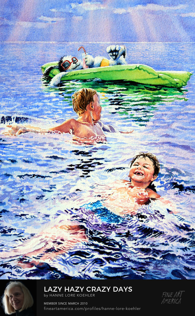 Children Swimming With Dog Art Prints