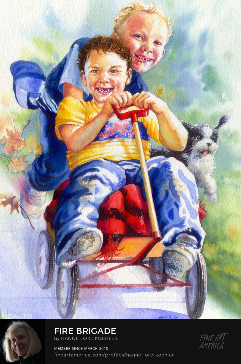 Painting Of Boys Playing with Wagon
