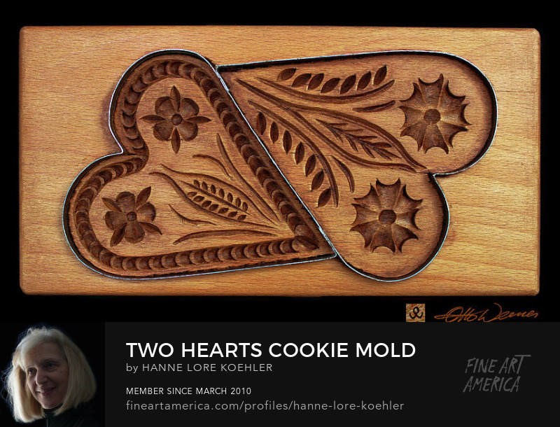 Buy canvas prints of hand-carved wood heart baking molds
