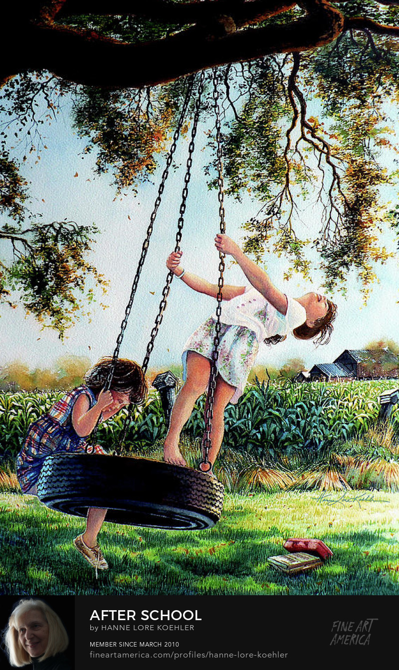 Painting Of Children Playing On a Tire Swing
