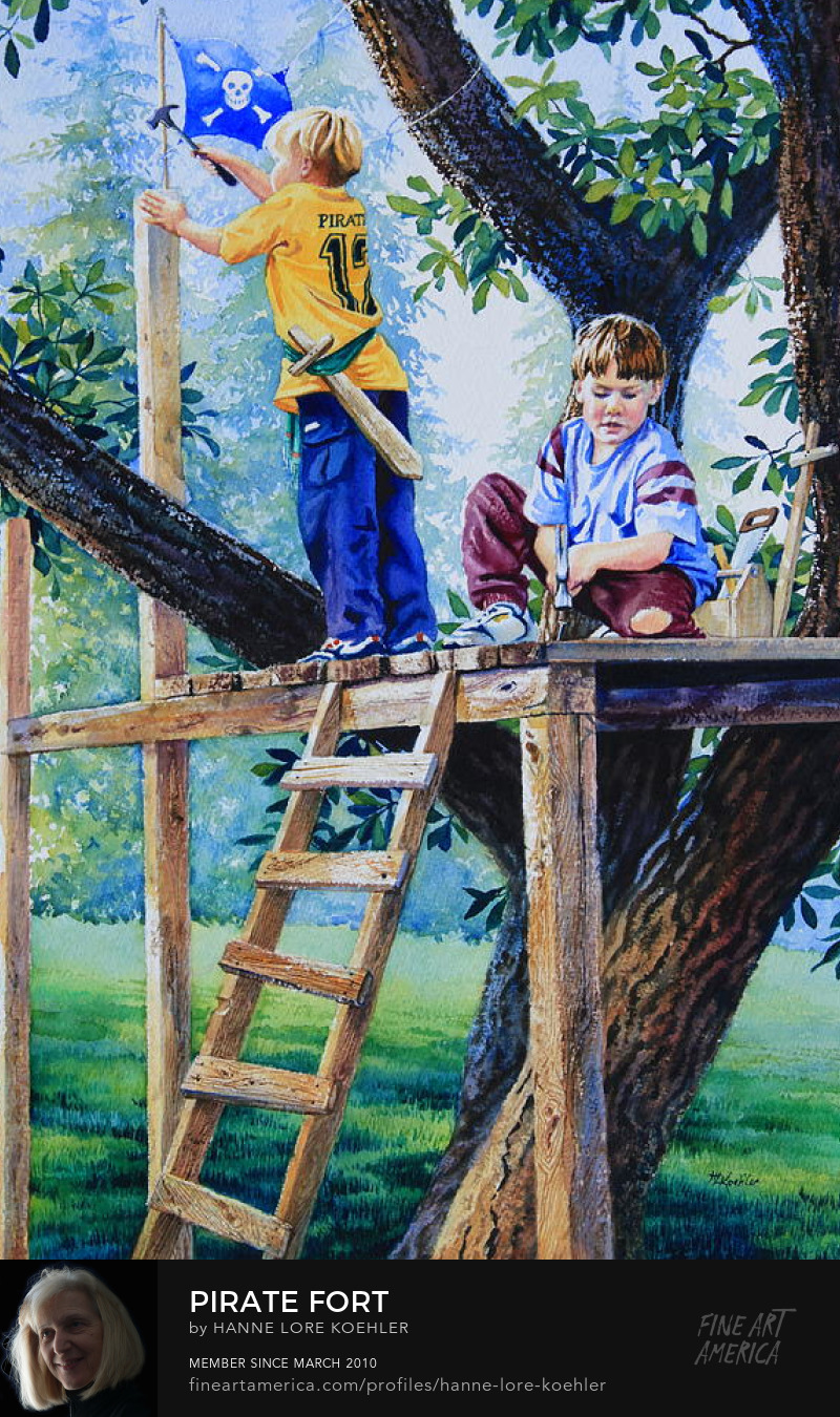 Painting And Art Prints of Boys Building Treehouse