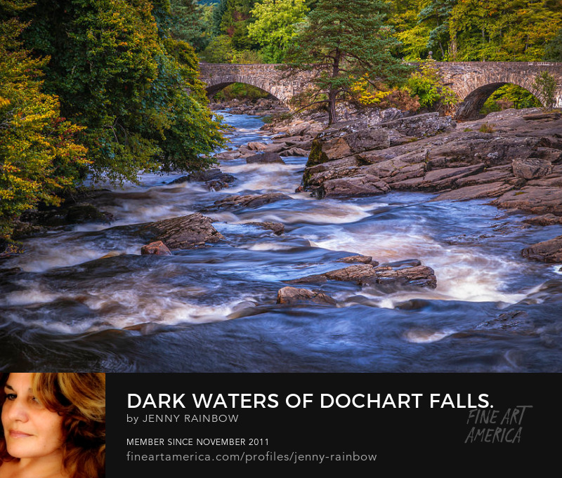 Dark Waters Of Dochart Falls. Scotland by Jenny Rainbow