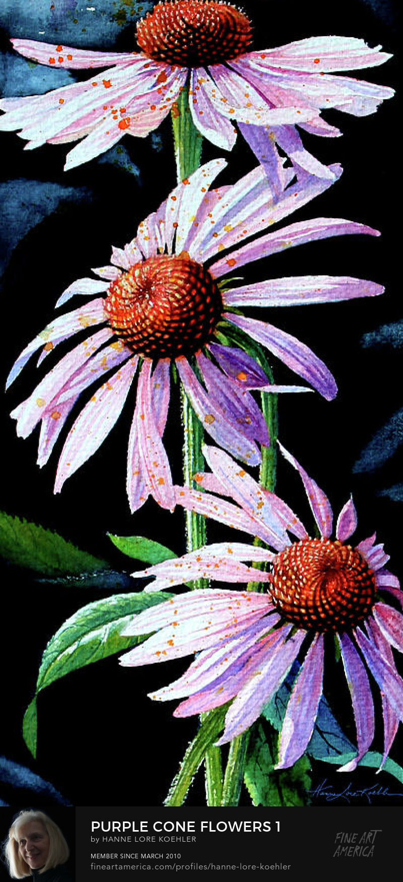 Painting Of Purple Cone Flowers