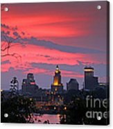 4th Of July Sunset Providence Ri Acrylic Print by Butch Lombardi