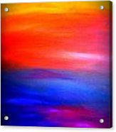 Abstract Painting Original Canvas Art  Sunset By Zee Clark Acrylic Print