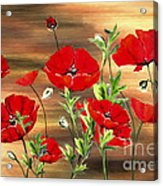 Abstract Poppies Painting On Wood Acrylic Print