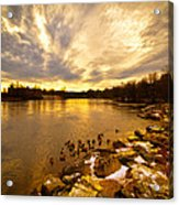 Androscoggin River Between Lewiston And Auburn Acrylic Print