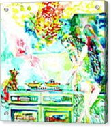 Angel Ghost Girl Cooking Again In Her Passed Life's Kitchen With Her Friend Cat Acrylic Print