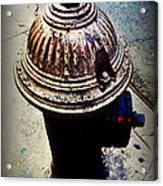 Antique Fire Hydrant - Blue Tones Acrylic Print
