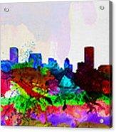 Baltimore Watercolor Skyline Acrylic Print