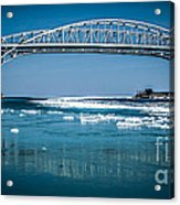 Blue Water Bridges With Reflection And Ice Flow Acrylic Print