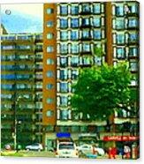 Carveli Restaurant Greek Italian Deli Cote St Luc Rd Urban Montreal Cafe City Scene Carole Spandau Acrylic Print