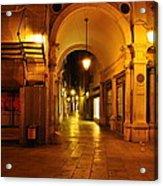 Clock Tower Venice Italy And The Path To Merceria Acrylic Print