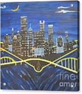 Crescent Over Pittsburgh  Acrylic Print