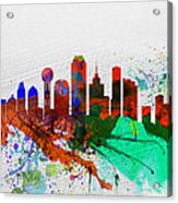 Dallas Watercolor Skyline Acrylic Print