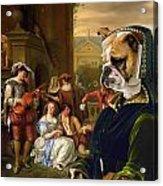 English Bulldog Art Canvas Print - The Garden Party Acrylic Print