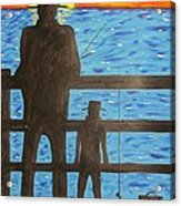 Father And Son Fishing Acrylic Print