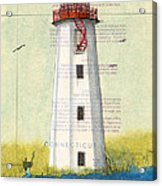 Faulkner Island Lighthouse Ct Nautical Chart Map Art Acrylic Print