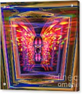 Flaming Butterfly Mixed Media Painting Acrylic Print