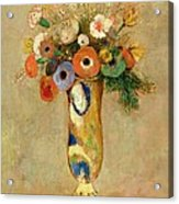 Flowers In A Painted Vase Acrylic Print by Odilon Redon