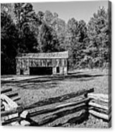 Historical Cantilever Barn At Cades Cove Tennessee In Black And White Acrylic Print by Kathy Clark