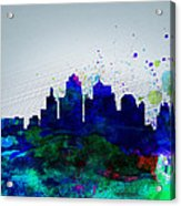 Kansas City Watercolor Skyline Acrylic Print