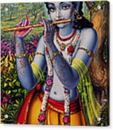Krishna With Flute  Acrylic Print by Vrindavan Das