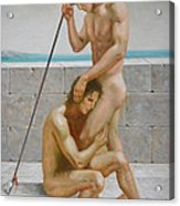 Original Man Body Oil Painting  Gay Art -two Male Nude By The Sea Acrylic Print