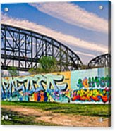 Mccarther Bridge And Grafiitti Flood Wall Acrylic Print