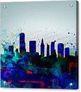 Miami Watercolor Skyline Acrylic Print