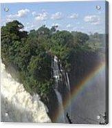 Mist And Rainbow At Victoria Falls Acrylic Print