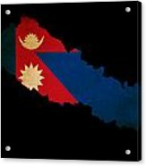 Nepal Outline Map With Grunge Flag Acrylic Print