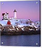 Nubble Light Under A Pastel Winter Sky Acrylic Print