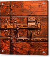 Old Door And Lock Rome Italy Acrylic Print