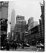 Pedestrians Crossing Crosswalk Outside Macys 7th Avenue And 34th Street Entrance New York City Acrylic Print