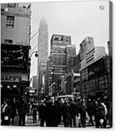 Pedestrians Crossing Crosswalk Outside Macys 7th Avenue And 34th Street Entrance New York Winter Acrylic Print