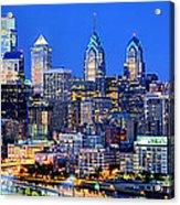 Philadelphia Skyline At Night Evening Panorama Acrylic Print