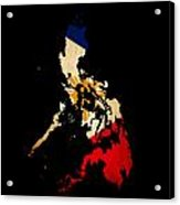 Philippines Outline Map With Grunge Flag Acrylic Print