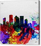 Phoenix Watercolor Skyline 2 Acrylic Print