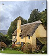 Picturesque Thatched Roof Cottage In Selworthy Acrylic Print